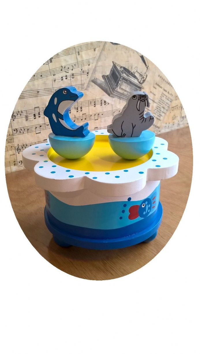 New from our range of wooden music boxes the Dancing Walrus & Dolphin Music Box